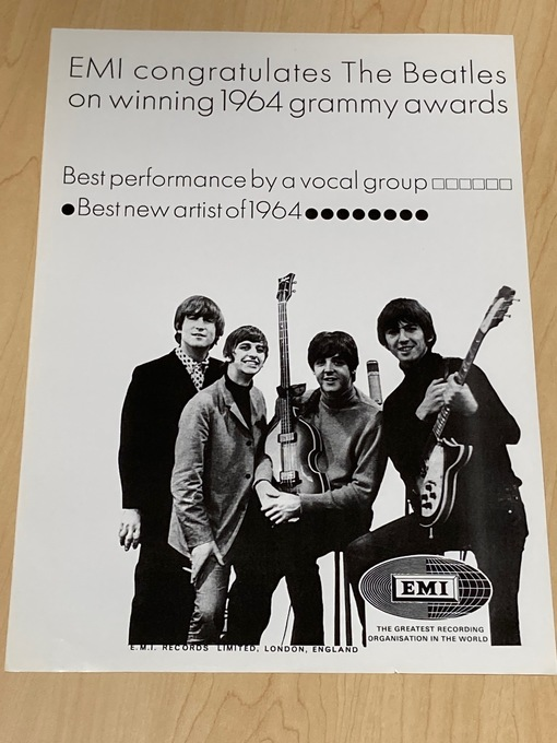 BEATLES POSTER-EMI Congratulates 1964 Grammy Awards repro