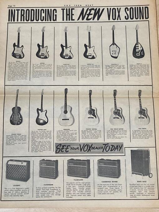 VOX TEEN BEAT NEWSPAPER - Vol. 1 #2 BEATLES Rolling Stones YARDBIRDS Animals DUSTY SPRINGFIELD & THE ECHOES