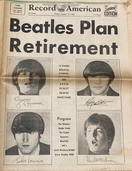 BEATLES 1966 NEWSPAPER SOUVENIR EDITION - August 19, 1966 Beatles Plan Retirement  Waterbury Record American, Connecticut, USA