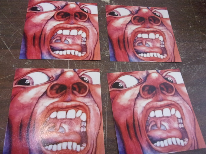 """SET OF 4   """"COURT OF THE CRIMSON KING""""   ALBUM COVER DRINK COASTERS       NEW"""